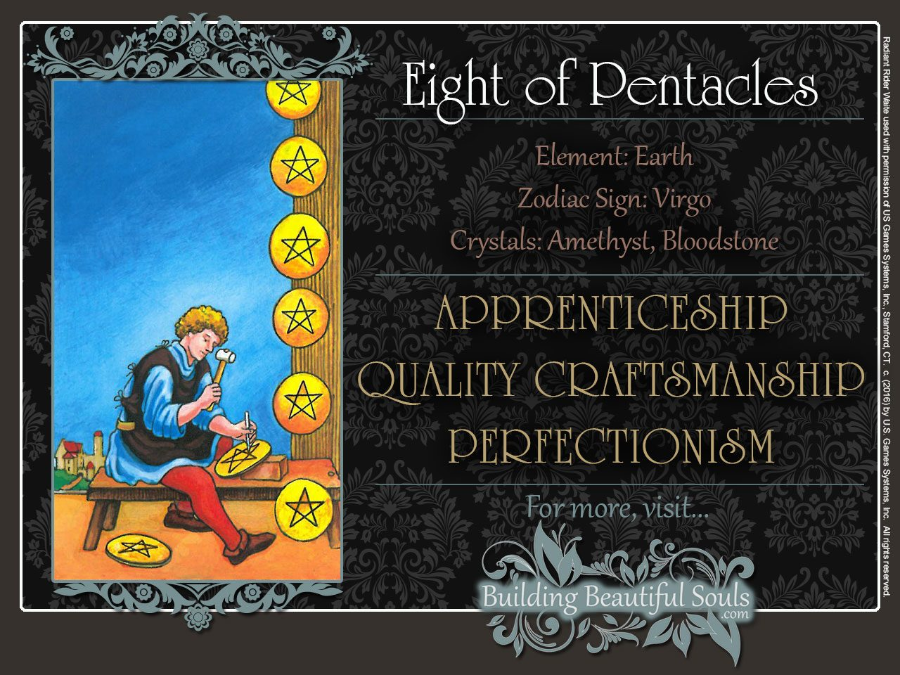 The Eight Of Pentacles Tarot Card Meanings Tarot Reading
