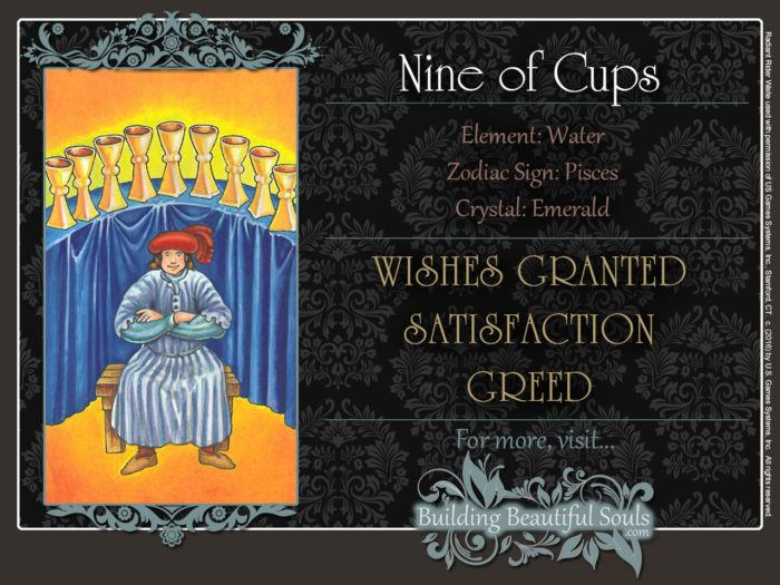 Nine of Cups Tarot Card Meanings Rider Waite Tarot Deck