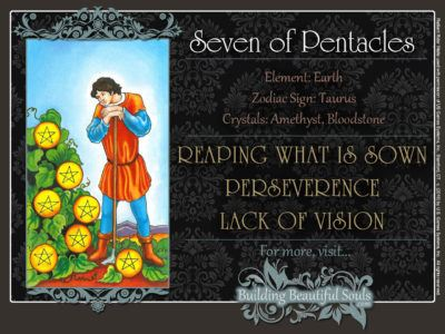 Seven of Pentacles Tarot Card Meanings Rider Waite Tarot Deck