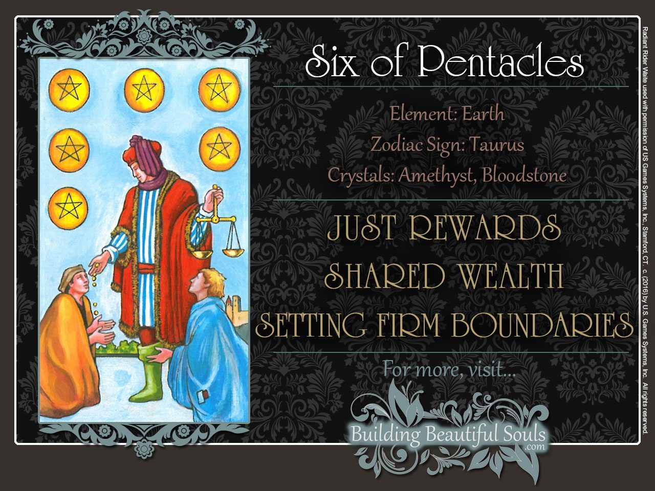 The Six Of Pentacles Tarot Card Meanings Tarot Reading We know that this sword card is also a two. the six of pentacles tarot card
