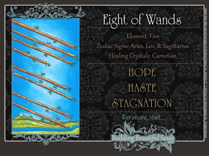 Eight of Wands Tarot Card Meanings Rider Waite Tarot Deck