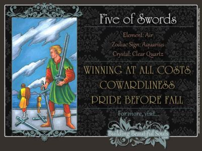 Five of Swords Tarot Card Meanings Rider Waite Tarot Deck