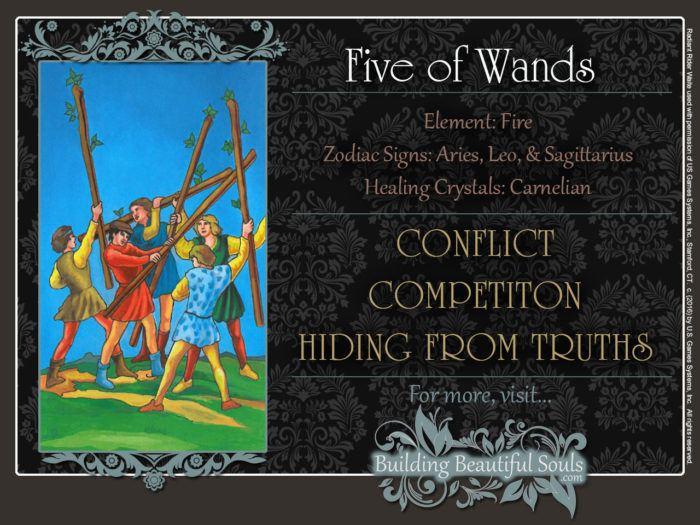 Five of Wands Tarot Card Meanings Rider Waite Tarot Deck