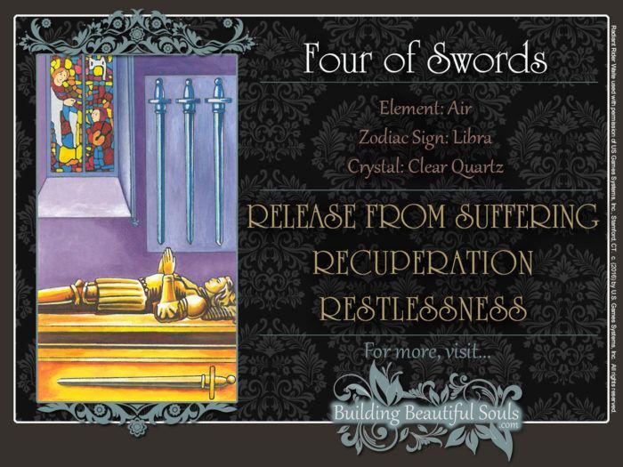 Four of Swords Tarot Card Meanings Rider Waite Tarot Deck