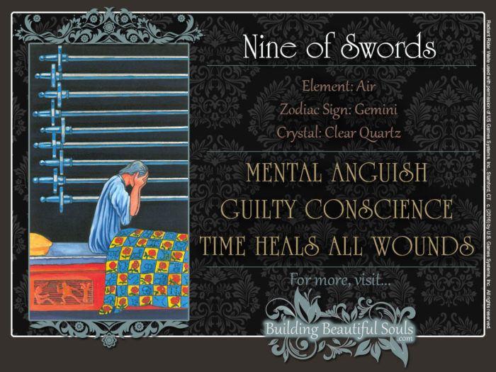 Nine of Swords Tarot Card Meanings Rider Waite Tarot Deck