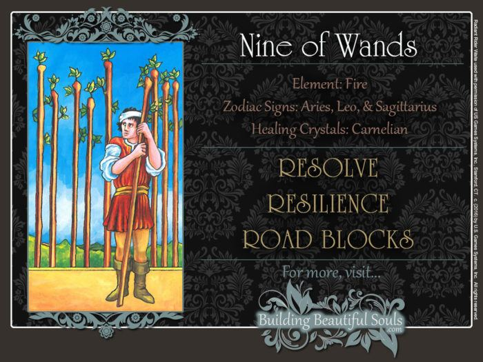 Nine of Wands Tarot Card Meanings Rider Waite Tarot Deck