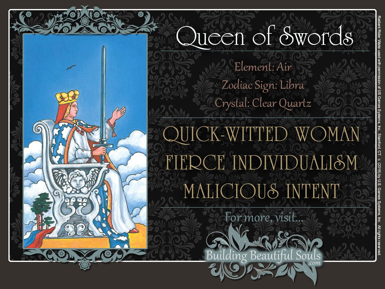 Queen of Swords Tarot Card Meanings Rider Waite Tarot Deck