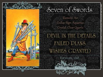 Seven of Swords Tarot Card Meanings Rider Waite Tarot Deck