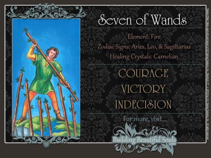 Seven of Wands Tarot Card Meanings Rider Waite Tarot Deck