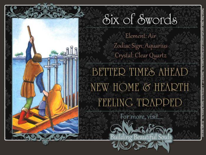 Six of Swords Tarot Card Meanings Rider Waite Tarot Deck