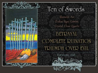 Ten of Swords Tarot Card Meanings Rider Waite Tarot Deck