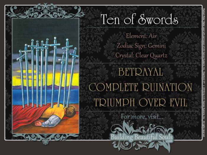 Ten of Swords Tarot Card Meanings Rider Waite Tarot Deck