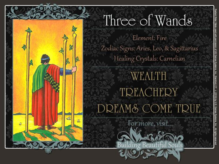 Three of Wands Tarot Card Meanings Rider Waite Tarot Deck
