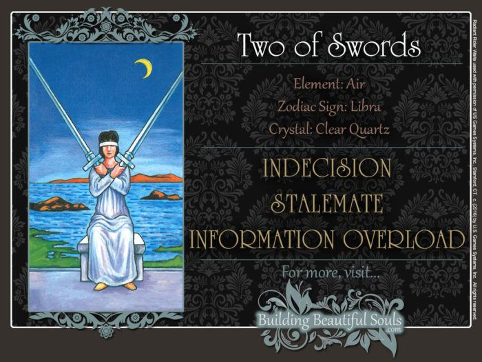 Two of Swords Tarot Card Meanings Rider Waite Tarot Deck