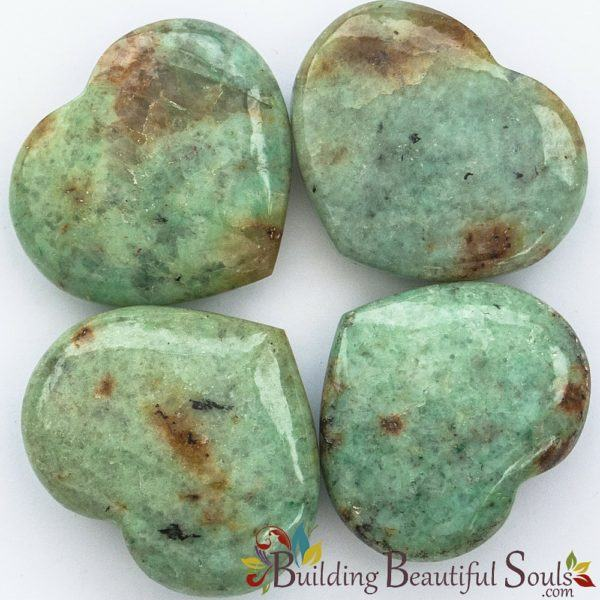Healing Crystals Stones Chrysoprase Hearts New Age Store