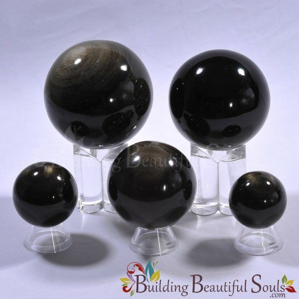 Healing Crystals Stones Gold Sheen Obsidian Spheres New Age Store