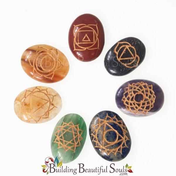 Chakra Stones Crystals Set Engraved Chakra Symbols