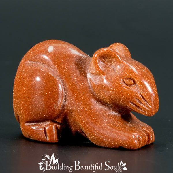 Goldstone Mouse Rat Spirit Totem Power Animal Carving 1000x1000