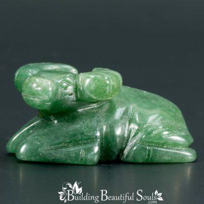 Green Aventurine Ox Spirit Totem Power Animal Carving