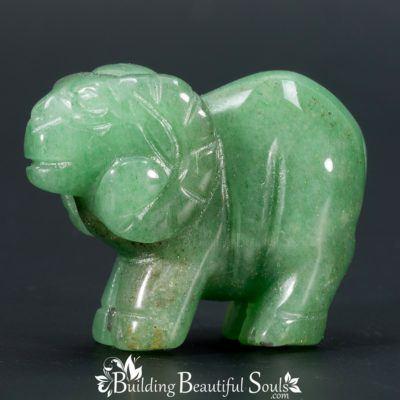 Green Aventurine Ram Goat Spirit Totem Power Animal Carving