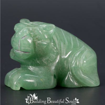 Green Aventurine Tiger Spirit Totem Power Animal Carving