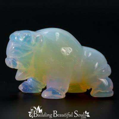 Opalina White Buffalo Spirit Totem Animal Figurine Carving