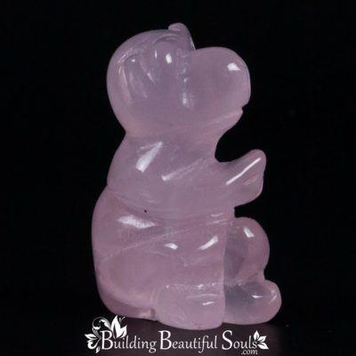 Pink Quartz Monkey Spirit Totem Power Animal Carving