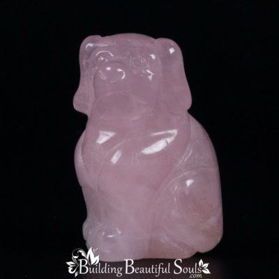 Rose Quartz Dog Spirit Totem Power Animal Carving