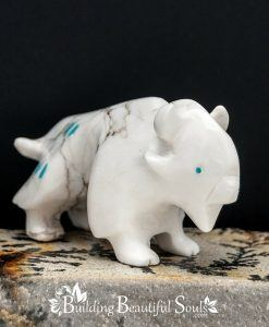Zuni Fetishes Buffalo White Howlite Turquoise Bremette Epaloose Native American Art A 1000x1000