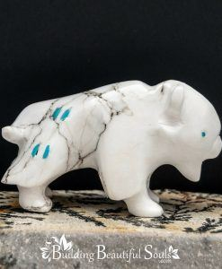 Zuni Fetishes Buffalo White Howlite Turquoise Bremette Epaloose Native American Art B 1000x1000
