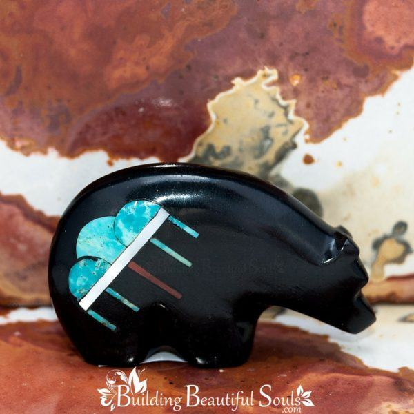 Zuni Fetishes Raincloud Bear Turquoise Jet Emery Boone Native American Art A