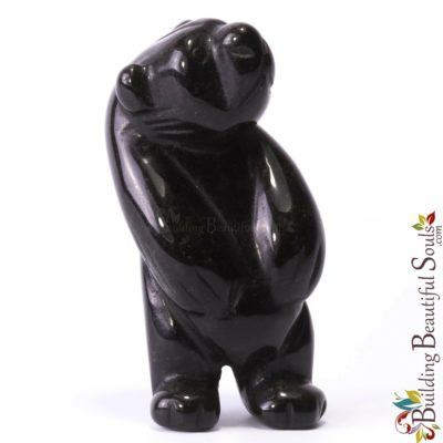 Black Obsidian Bear Spirit Totem Animal Figurine Carving Tall