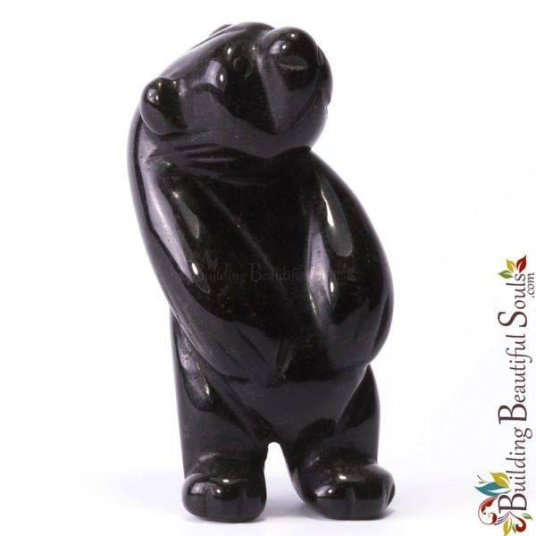 Black Obsidian Bear Spirit Totem Animal Figurine Carving Tall 1000x1000