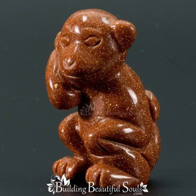 Goldstone Monkey Spirit Totem Animal Figurine Carving