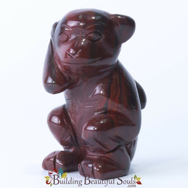Red Jasper Monkey Spirit Totem Animal Figurine Carving