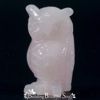 Rose Quartz Owl Spirit Animal Totem Figurine