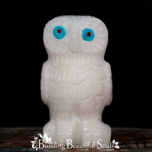 White Marble Owl Zuni Fetish Christine Banteah front 1000x1000
