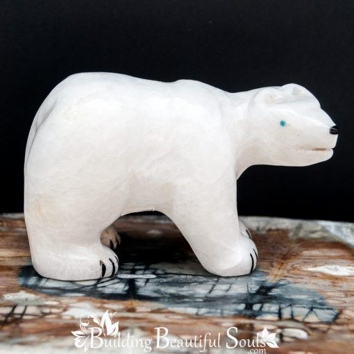 White Marble Polar Bear Zuni Fetish Bryston Bowannie right side 1000x1000