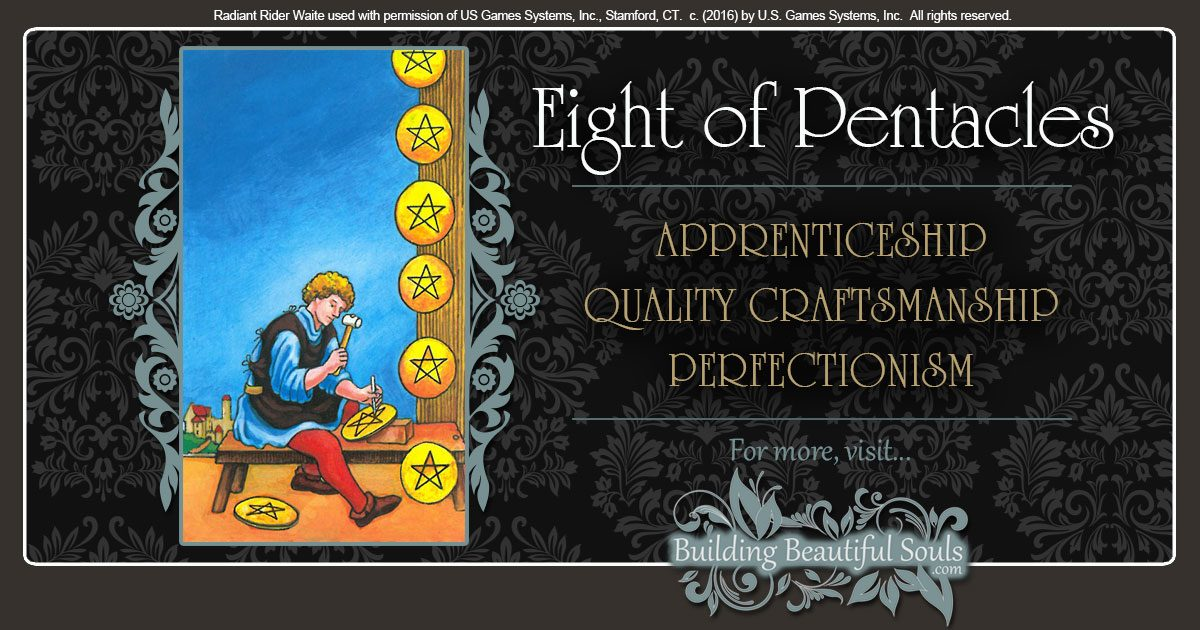 The Eight of Pentacles Tarot Card Meanings 1200x630