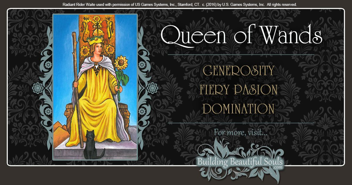 The Queen of Wands Tarot Cards Meanings 1200x630