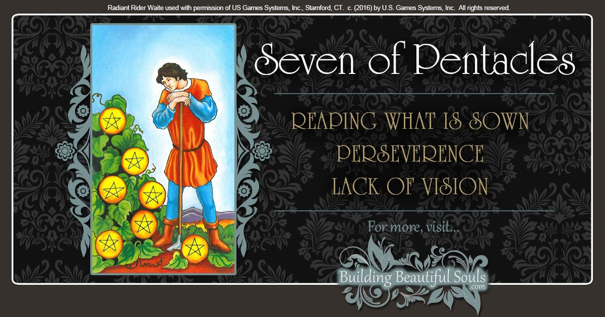 The Seven of Pentacles Tarot Card Meanings 1200x630